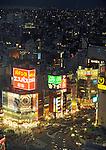 Photo shows the the Shinjuku area of Tokyo, Japan. Photographer: Robert Gilhooly