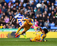 Modou Barrow of Reading collides with Sam Morsy and Reece James of Wigan Athletic during Reading vs Wigan Athletic, Sky Bet EFL Championship Football at the Madejski Stadium on 9th March 2019