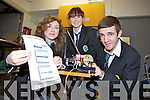 IT'S SEISMOLOGY: Mercy Mounthawk secondary school is one of only two schools in Kerry to have seismology equipment set up in their school. PIctured l-r were: Aisling Shalvey, Siobhan Gannon and David Griffin.