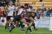 Anthony Tuitavake tackles the strong running DJ Forbes. Air New Zealand Cup rugby game between Counties Manukau Steelers & North Harbour, played at Mt Smart Stadium on Saturday 4th of  October 2008. After being tied up 14 all at halftime North Harbour went on to win 57 - 28.