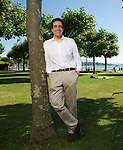 Darius Rochebin swiss journalist and anchorman in Hermance, Geneva.