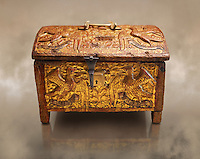 Gothic box made from poplar wood with stucco reliefs, gold leaf gold decorations and traces of polychrome iron and brass 2nd quarter 15th century, possibly from Barcelona, Catalunya, Spain. National Museum of Catalan Art, Barcelona, Spain, inv no: MNAC 12120.