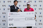 Supamas Sangchan (R) of Thailand receives the prize money cheque from Albert Chiu (L), Head of Asia Region, EFG International during the Prize giving ceremony after winning the 2017 Hong Kong Ladies Open on June 11, 2017 in Hong Kong, Hong Kong. Photo by Chris Wong / Power Sport Images