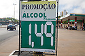 A gas price sign for ethanol in Cuiaba, Mato Grosso, Brazil.