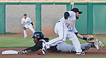 Sacramento River Cats runner Jemile Weeks steals second as Reno Aces second baseman Taylor Harbin takes the throw during their game played on Friday night, April 12, 2013 in Reno, Nevada.