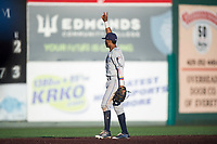 Tri-City Dust Devils second baseman Kelvin Alarcon (1) during a Northwest League game against the Everett AquaSox at Everett Memorial Stadium on September 3, 2018 in Everett, Washington. The Everett AquaSox defeated the Tri-City Dust Devils by a score of 8-3. (Zachary Lucy/Four Seam Images)