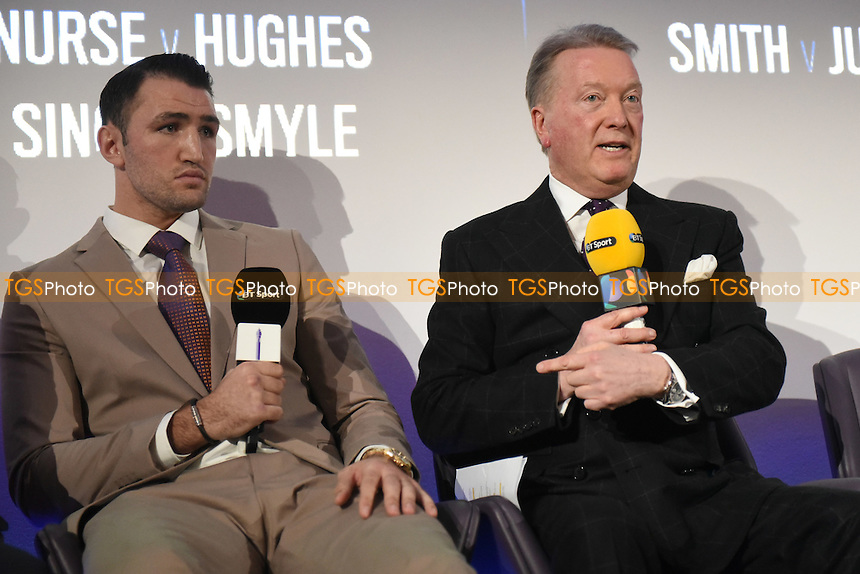 Boxer Hughie Fury (L) and promoter Frank Warren during a BT Sport Press Conference at the BT Tower on 23rd January 2017