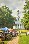 Madison, CT. farmers market and congregational church on village green.