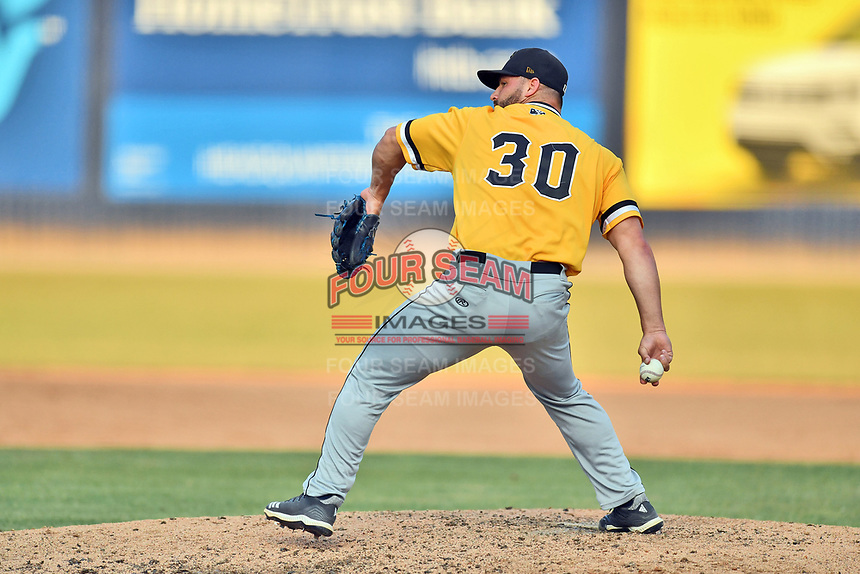West Virginia Power pitcher Sal Biasi (30) delivers a pitch during a game against the Asheville Tourists at McCormick Field on June 1, 2019 in Asheville, North Carolina. The  Tourists defeated the Power 16-1. (Tony Farlow/Four Seam Images)