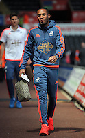 Kenji Gorre of Swansea City arrives during the Swansea City FC v Manchester City Premier League game at the Liberty Stadium, Swansea, Wales, UK, Sunday 15 May 2016