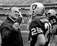 Oakland Raiders coach John Rauch with Fred Biletnikoff..(1969 photo/Ron Riesterer)