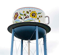Giant Tea Cup water tower in Stanton, Iowa.