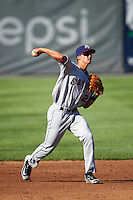 Mahoning Valley Scrappers shortstop Luke Wakamatsu (22) throws to first during a game against the Auburn Doubledays on June 19, 2016 at Falcon Park in Auburn, New York.  Mahoning Valley defeated Auburn 14-3.  (Mike Janes/Four Seam Images)