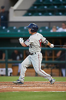 Fort Myers Miracle left fielder Ernie De La Trinidad (13) follows through on a swing during a game against the Lakeland Flying Tigers on August 7, 2018 at Publix Field at Joker Marchant Stadium in Lakeland, Florida.  Fort Myers defeated Lakeland 5-0.  (Mike Janes/Four Seam Images)