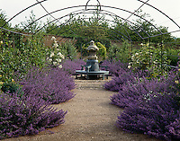 The bright purple Catmint lines the gravel path beneath this metal arbour with a circular bench at its centre