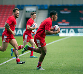 June 4th 2017, AJ Bell Stadium, Salford, Greater Manchester, England;  Rugby Super League Salford Red Devils versus Wakefield Trinity; Lama Tasi of Salford warms up before the game