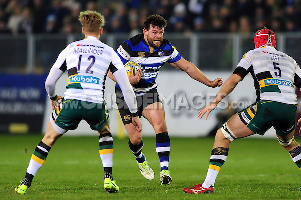 Nathan Catt of Bath Rugby in possession. Aviva Premiership match, between Bath Rugby and Northampton Saints on February 10, 2017 at the Recreation Ground in Bath, England. Photo by: Patrick Khachfe / Onside Images