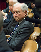 United States Attorney General Jeff Sessions makes remarks at a prison reform roundtable convened by US President Donald J. Trump in the Roosevelt Room of the White House in Washington, DC on Thursday, January 11, 2018.<br /> Credit: Ron Sachs / CNP