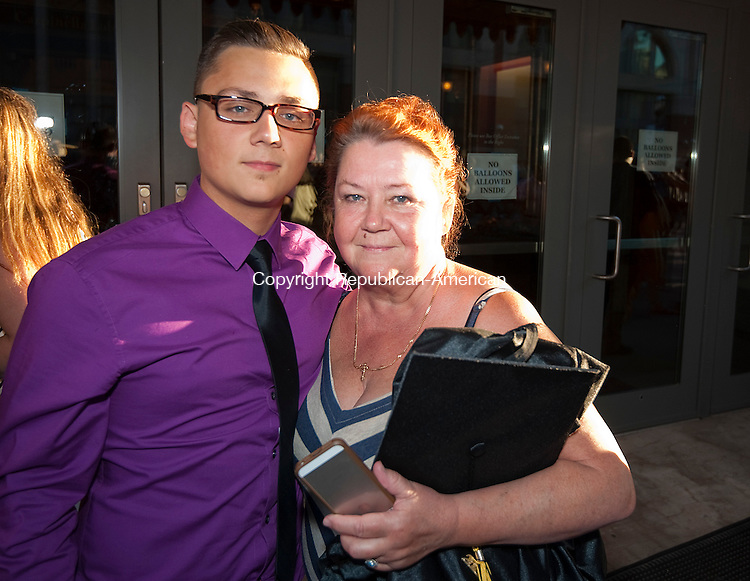WATERBURY, CT-062014JS03--Kaynor Tech graduate Igor Panchenko (Electrical) with his Grandmother Elena Starodudetz, following  graduation ceremonies Thursday at the Palace Theater in Waterbury. Jim Shannon Republican-American