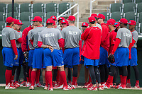 The Lakewood BlueClaws huddle up prior to taking batting practice before their game against the Kannapolis Intimidators at Kannapolis Intimidators Stadium on April 6, 2017 in Kannapolis, North Carolina.  The BlueClaws defeated the Intimidators 7-5.  (Brian Westerholt/Four Seam Images)