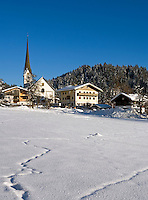Austria, Tyrol, village Scheffau with parish church