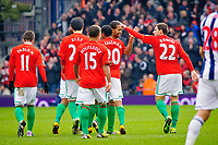 Saturday, 9 March 2013<br /> <br /> Pictured: Luke Moore of Swansea City celebrates with team mates after scoring<br /> <br /> Re: Barclays Premier League West Bromich Albion v Swansea City FC  at the Hawthorns, Birmingham, West Midlands