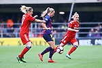 UEFA Women's Champions League 2018/2019.<br /> Semi Finals<br /> FC Barcelona vs FC Bayern Munchen: 1-0.<br /> Kathrin-Julia Hendrich vs Toni Duggan.