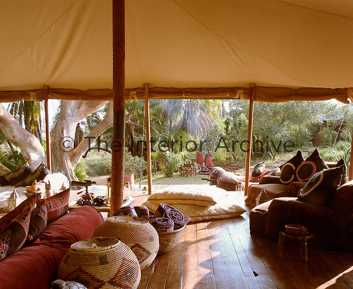 View from the living area out to the garden that surrounds the camp