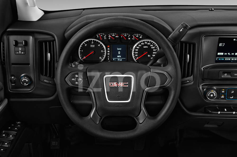 Car pictures of steering wheel view of a 2017 GMC Sierra 3500HD Double 4WD Cab Long Box 4 Door Pick Up