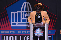 Canton, Ohio - August 3, 2019: Ed Reed gives his enshrinement speech at the Tom Benson Hall of Fame Stadium in Canton, Ohio August 3, 2019 after his induction into the Pro Football Hall of Fame.  (Photo by Don Baxter/Media Images International)