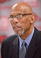 NWA Democrat-Gazette/ANDY SHUPE<br /> Kareem Abdul-Jabbar speaks Thursday, March 8, 2018, to members of the media before speaking in Bud Walton Arena in Fayetteville.