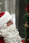 Santa Claus in the woods of the North Pole during winter while it is snowing before Christmas