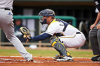 Montgomery Biscuits catcher Justin O'Conner (5) during a game against the Jackson Generals on April 29, 2015 at Riverwalk Stadium in Montgomery, Alabama.  Jackson defeated Montgomery 4-3.  (Mike Janes/Four Seam Images)
