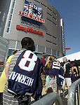 (Foxboro 070613) Fans wait in line during an exchange of Aaron Hernandez jerseys Saturday at the pro shop at Gillette Stadium in Foxboro.  (Jim Michaud Photo) For Sunday
