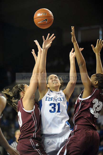 UK's Samantha Drake takes a highly contested shot during the second half of the University of Kentucky Women's basketball game against Alabama A&M at Memorial Coliseum in Lexington, Ky., on 12/18/10. Uk won the game 84-58. Photo by Mike Weaver | Staff