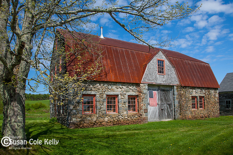 Stone barn in Bar Harbor, ME, USA