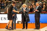 Scotch Andy Murray, Manolo Santana, Madrid Mayor Manuela Carmena and the president of Mutua Madrileña, Ignacio Garralda during  TPA Finals Mutua Madrid Open Tennis 2016 in Madrid, May 08, 2016. (ALTERPHOTOS/BorjaB.Hojas) /NortePhoto.com