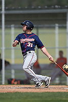Minnesota Twins Max Murphy (31) during a minor league spring training game against the Baltimore Orioles on March 28, 2015 at the Buck O'Neil Complex in Sarasota, Florida.  (Mike Janes/Four Seam Images)