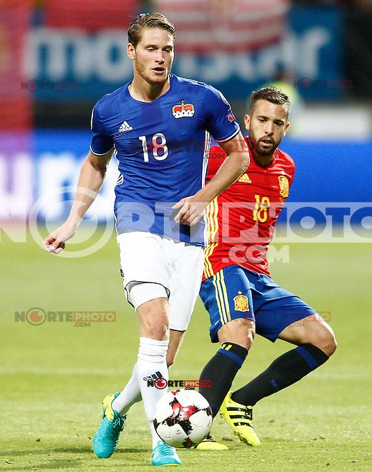 Spain's Jordi Alba (r) and Liechtenstein's Nicolas Hasler during FIFA World Cup 2018 Qualifying Round match. September 5,2016.(ALTERPHOTOS/Acero) /NORTEPHOTO