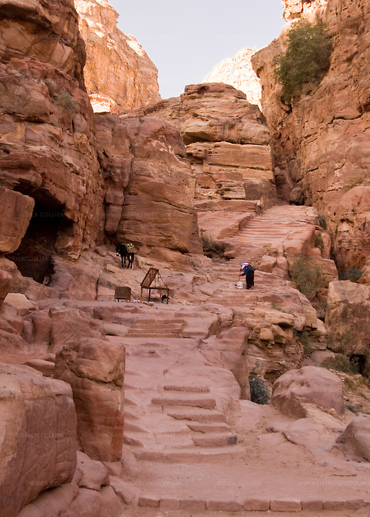 Steps -- Nearly 1,000 stairs climb the Wadi ad-Deir at the back of Petra, climbing to overlooks and more tombs cut into the mountains above.  © Rick Collier