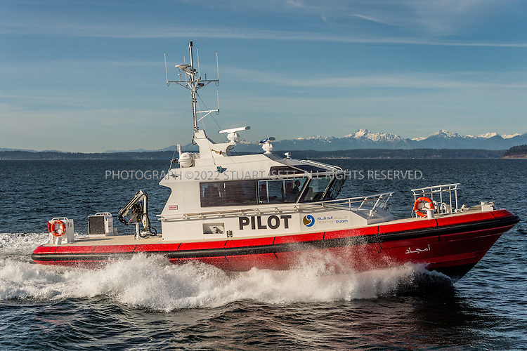 February 8th, 2016 &mdash; Puget Sound, Seattle, Washington, USA<br /> <br /> Kvichak Marine Industries, Inc., recently merged with  Vigor Industrial, recently completed construction of two 19m all-weather Pilot Boats for the Port of Duqm Company SAOC, Sultanate of Oman. Designed by Camarc Design, Ltd., UK, their primary function will be as pilot boats and they will also function as Search and Rescue and oil spill recovery vessels.<br /> <br /> These all-aluminum vessels will be powered by twin Cummins QSK-19 marine diesel engines rated for 800 hp @ 2100 rpm each and twin ZF 2000A transmissions driving NiBrAl 5-bladed fixed propellers providing an operating speed of ~20 knots. The pilot boats will perform safely in all types of weather including the high winds and stormy seas experienced in southern Oman during &quot;Hareef&quot; (typhoon) season. <br /> <br /> The Port of Duqm is undergoing a major multiphase expansion project creating the new Port and Drydock Complex located on the southeastern seaboard of the Sultanate of Oman. Kvichak Marine is excited to be part of the new port growth and expansion.<br /> <br /> Projected delivery is Spring 2016.<br /> <br /> Photograph by Stuart Isett/Vigor Industrial