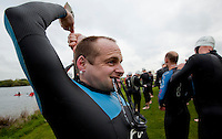 09 MAY 2010 - GRENDON, GBR - Robbie McNab prepares for the start of the Grendon Triathlon (PHOTO (C) NIGEL FARROW)