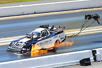 Jun 19, 2016; Bristol, TN, USA; NHRA funny car driver Tim Wilkerson explodes an engine on fire during the Thunder Valley Nationals at Bristol Dragway. Mandatory Credit: Mark J. Rebilas-USA TODAY Sports