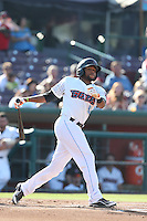 Sherman Johnson #10 of the Inland Empire 66ers bats against the Rancho Cucamonga Quakes at San Manuel Stadium on August 10, 2014 in San Bernardino, California. Inland Empire defeated Rancho Cucamonga, 4-1. (Larry Goren/Four Seam Images)