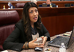 Nevada Assemblywoman Lucy Flores, D-Las Vegas, talks on the Assembly floor at the Legislative Building in Carson City, Nev., on Tuesday, April 23, 2013. The Assembly approved a measure Tuesday that will overhaul the state sex education curriculum. (AP Photo/Cathleen Allison)