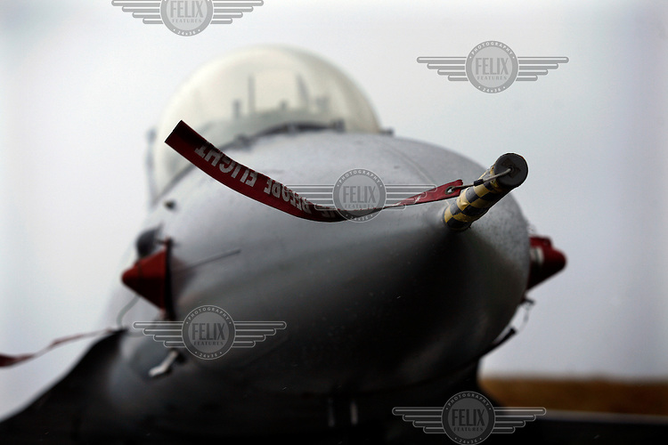 Detail of Lockheed Martin F-16 Fighting Falcon. BOLD AVENGER 2007 (BAR 07), a NATO  air exercise at Ørland Main Air Station, Norway. BAR 07 involved air forces from 13 NATO member nations: Belgium, Canada, the Czech Republic, France, Germany, Greece, Norway, Poland, Romania, Spain, Turkey, the United Kingdom and the United States of America. The exercise was designed to provide training for units in tactical air operations, involving over 100 aircraft, including combat, tanker and airborne early warning aircraft and about 1,450 personnel.