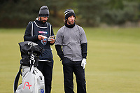 Romain Wattel discusses his shot with his caddie during the first day at the Betfred British Masters, Hillside Golf Club, Lancashire, England. 09/05/2019.<br /> Picture David Kissman / Golffile.ie<br /> <br /> All photo usage must carry mandatory copyright credit (© Golffile | David Kissman)