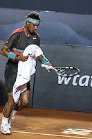 RIO DE JANEIRO, RJ, 22.02.2014 - O espanhol Rafael Nadal em lance contra o também espanhol Pablo Andújar durante a partida de semifinal na quadra central do Jockey Club neste sábado. (Foto: Néstor J. Beremblum / Brazil Photo Press).