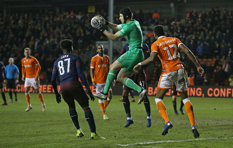 Arsenal's goalkeeper Petr Cech collects the ball in front of Blackpool's Michael Nottingham<br /> <br /> Photographer Stephen White/CameraSport<br /> <br /> Emirates FA Cup Third Round - Blackpool v Arsenal - Saturday 5th January 2019 - Bloomfield Road - Blackpool<br />  <br /> World Copyright © 2019 CameraSport. All rights reserved. 43 Linden Ave. Countesthorpe. Leicester. England. LE8 5PG - Tel: +44 (0) 116 277 4147 - admin@camerasport.com - www.camerasport.com