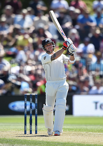 20.02.2016. Christchurch, New Zealand.  Brendon McCullum batting. New Zealand Black Caps versus Australia. Day 1, 2nd test match, Hagley Oval in Christchurch, New Zealand. Saturday 20 February 2016.